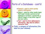 parts of a database cont d