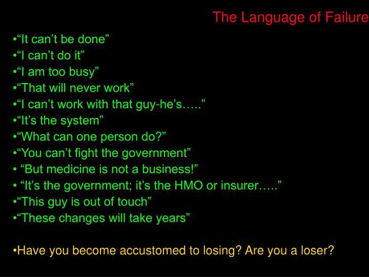 The Language of Failure
