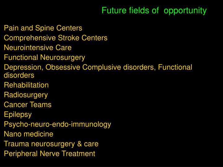 Future fields of  opportunity