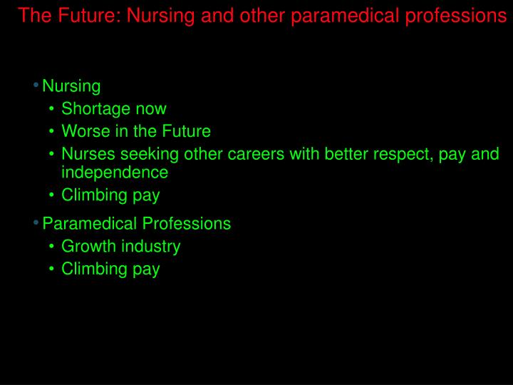 The Future: Nursing and other paramedical professions