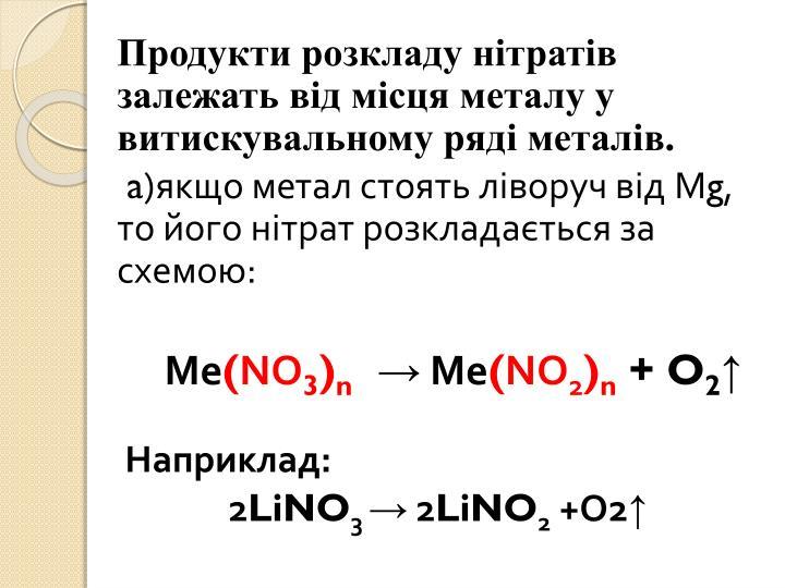 Продукти розкладу нітратів залежать від місця металу у витискувальному ряді металів