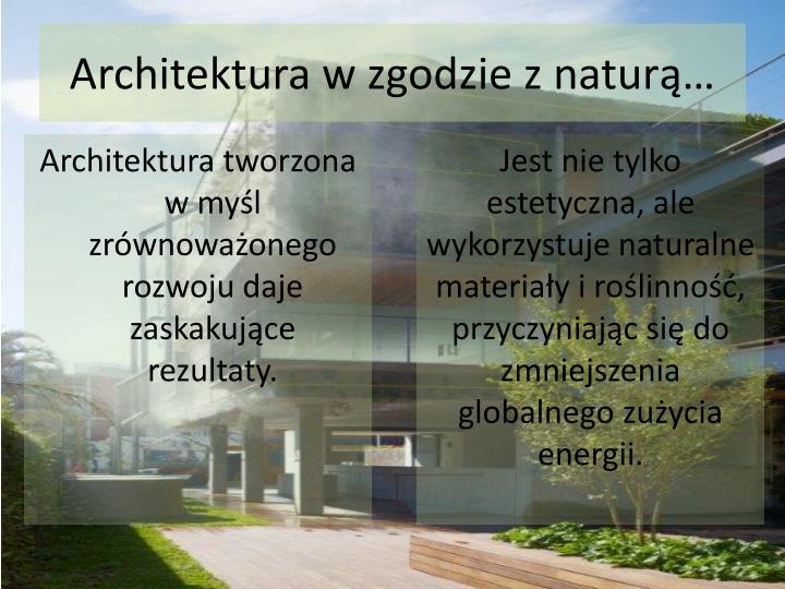 Architektura w zgodzie z naturą…