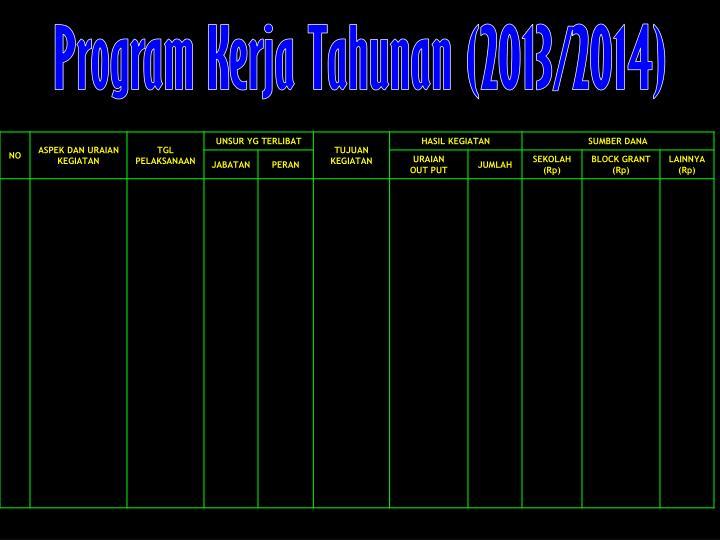 Program Kerja Tahunan (2013/2014)