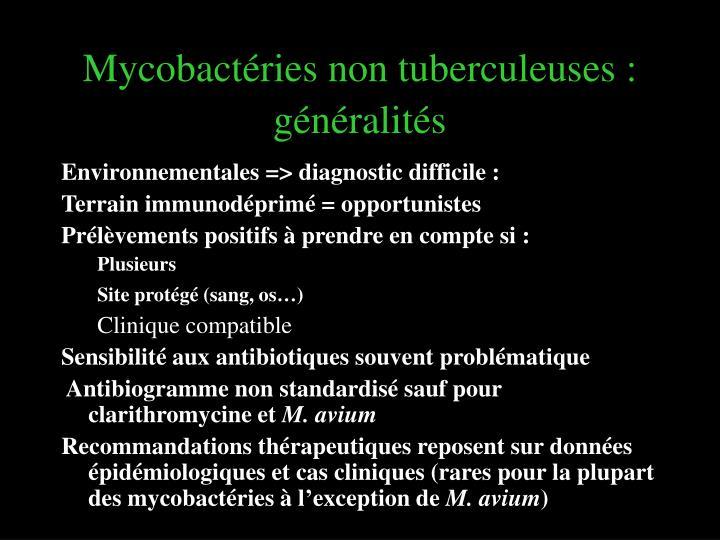 Mycobactéries non tuberculeuses: généralités