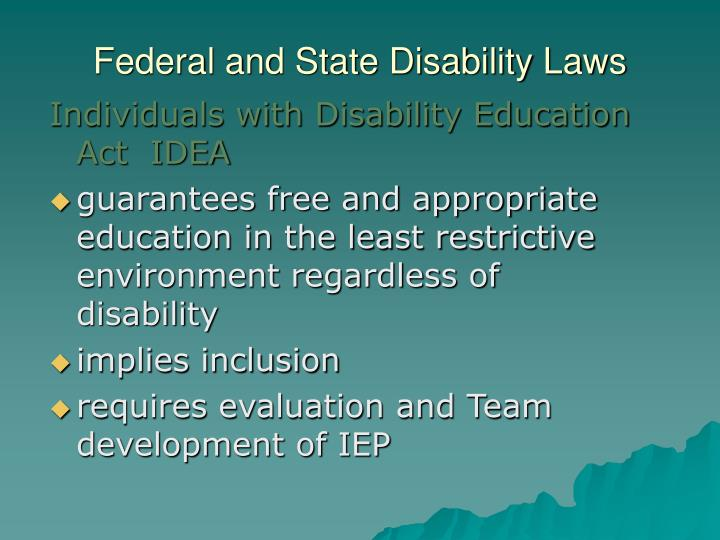 Federal and State Disability Laws