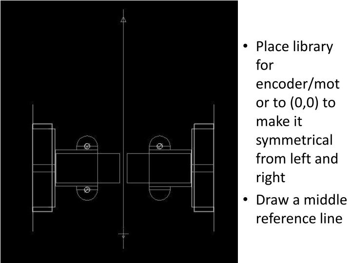 Place library for encoder/motor to (0,0) to make it symmetrical from left and right