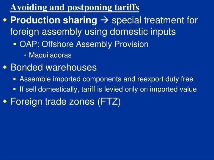 Avoiding and postponing tariffs