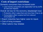 costs of import restrictions
