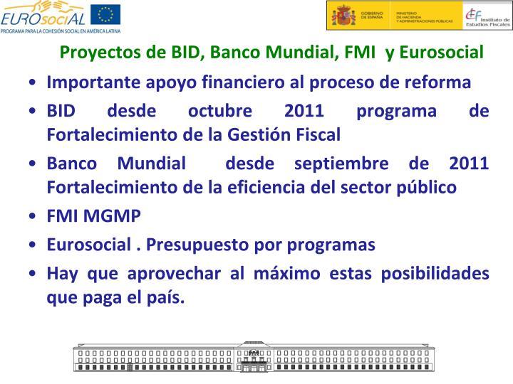 Proyectos de BID, Banco Mundial, FMI  y Eurosocial