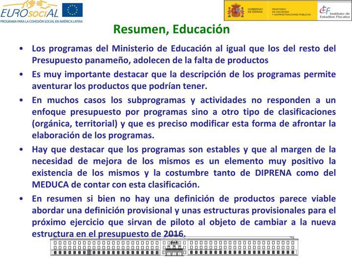 Resumen, Educación