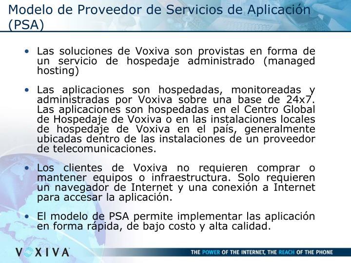 Modelo de Proveedor de Servicios de Aplicación (PSA)