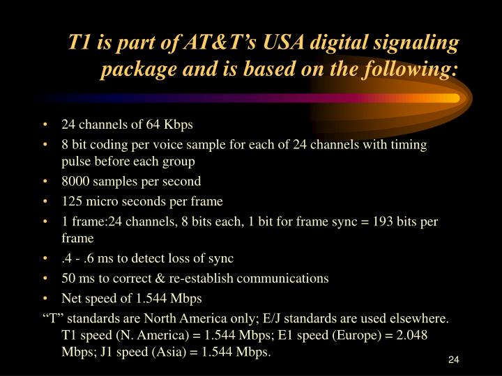 T1 is part of AT&T's USA digital signaling package and is based on the following: