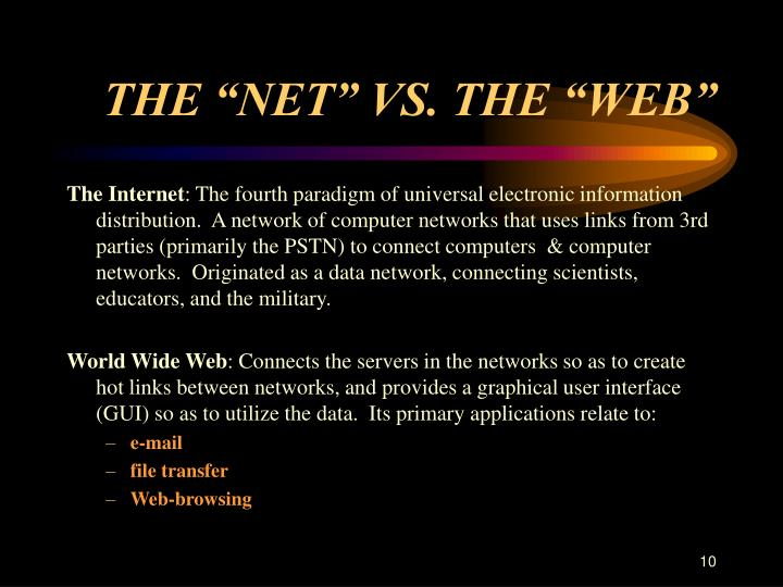 "THE ""NET"" VS. THE ""WEB"""