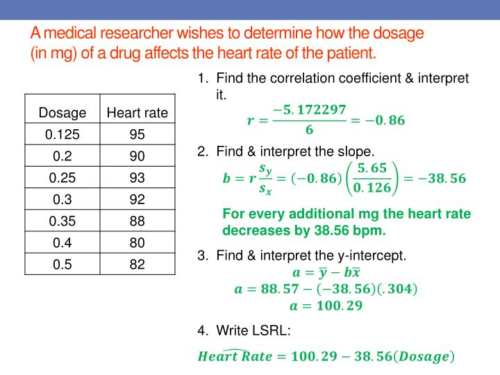 A medical researcher wishes to determine how the dosage (in mg) of a drug affects the heart rate of the patient.