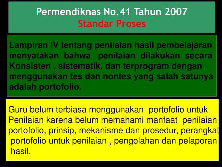 Permendiknas No.41 Tahun 2007