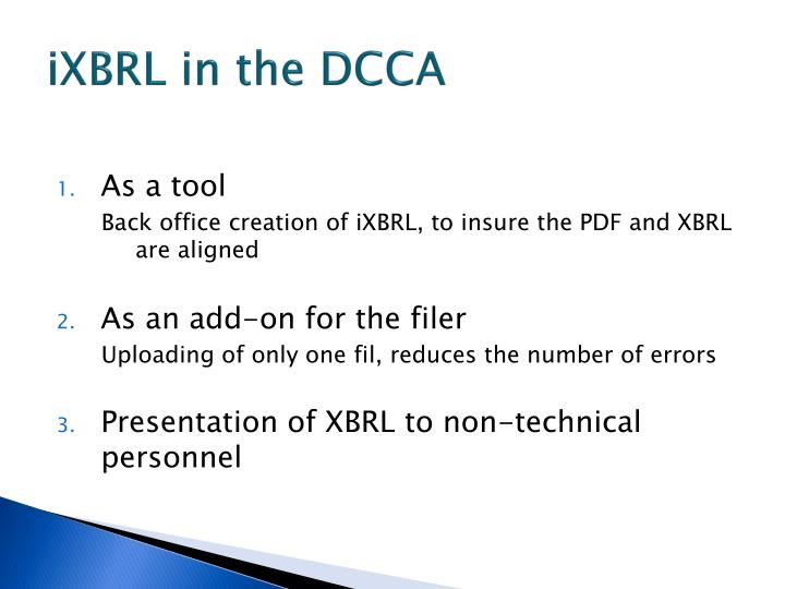 iXBRL in the DCCA