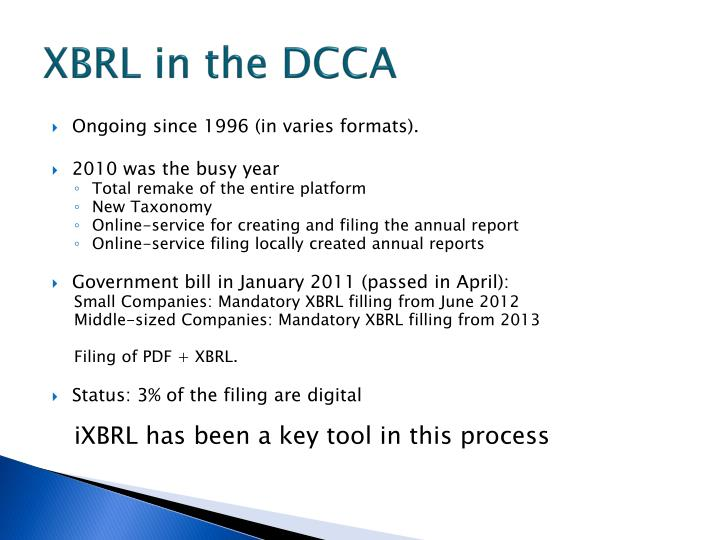XBRL in the DCCA