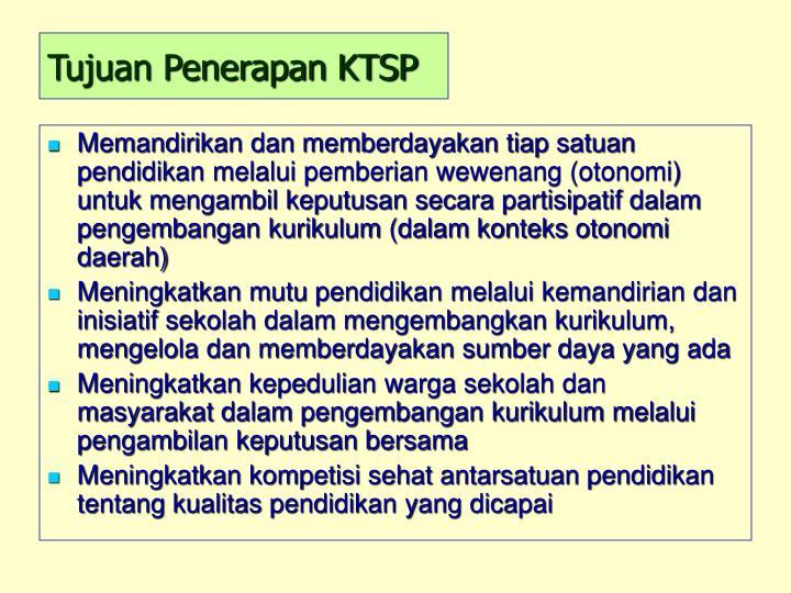 Tujuan Penerapan KTSP