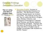 detailed findings secondary education