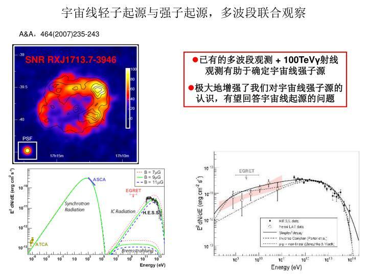 宇宙线轻子起源与强子起源,多波段联合观察