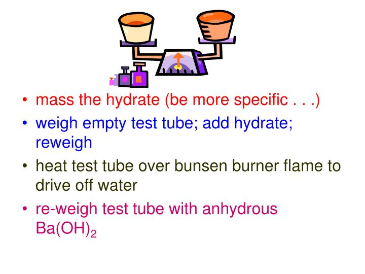 mass the hydrate (be more specific . . .)