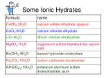 some ionic hydrates