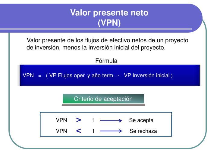 VPN   =   ( VP Flujos oper. y año term.  -   VP Inversión inicial