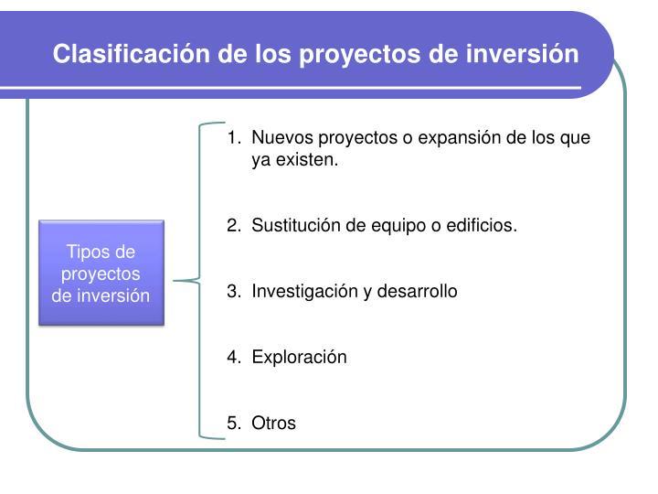 Clasificación de los proyectos de inversión
