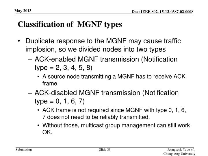 Classification of  MGNF types