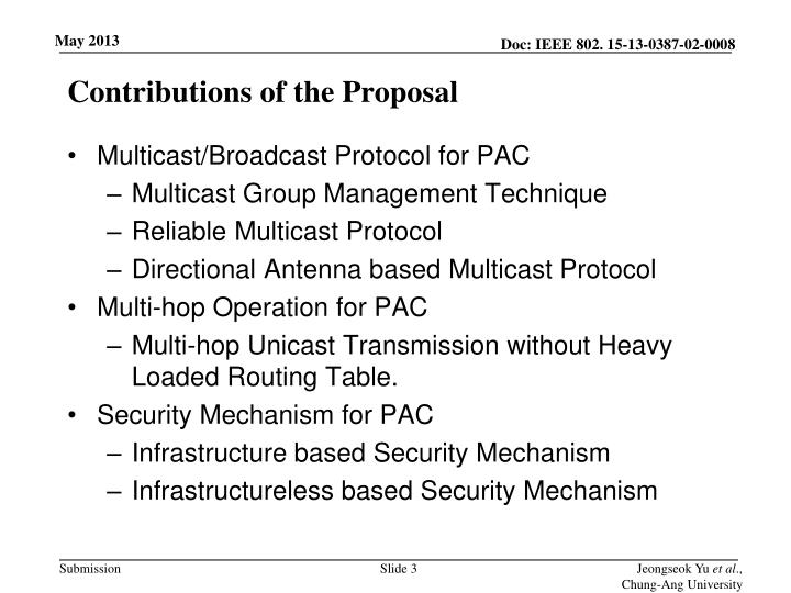 Contributions of the proposal