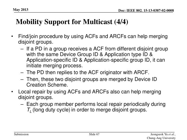 Mobility Support for Multicast