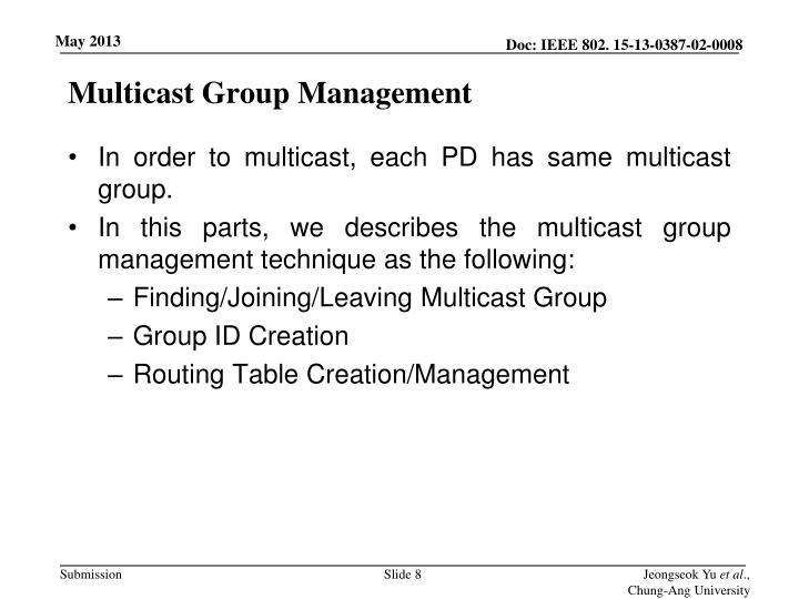 Multicast Group Management