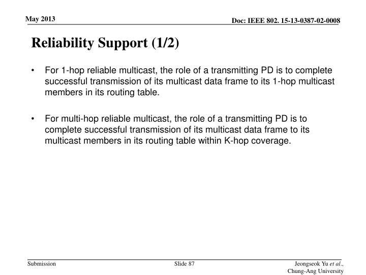 Reliability Support (1/2)