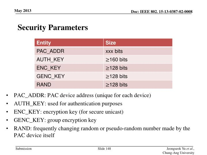 Security Parameters