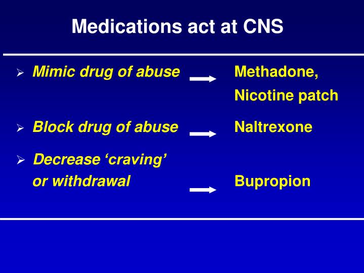 Medications act at CNS