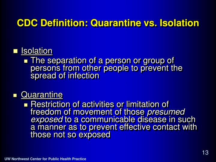 CDC Definition: Quarantine vs. Isolation