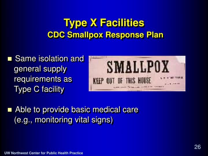 Type X Facilities