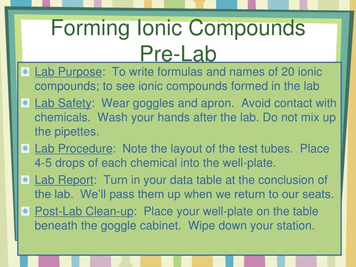 Forming Ionic Compounds Pre-Lab