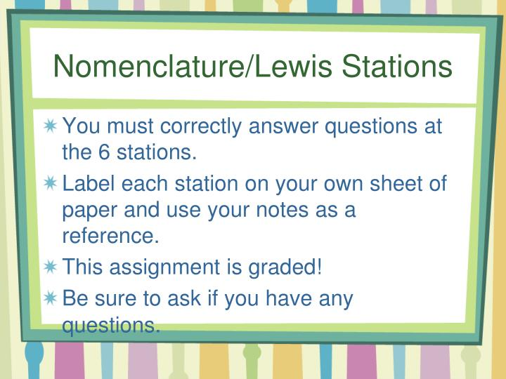 Nomenclature/Lewis Stations