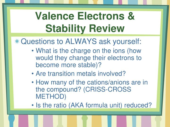 Valence Electrons &           Stability Review