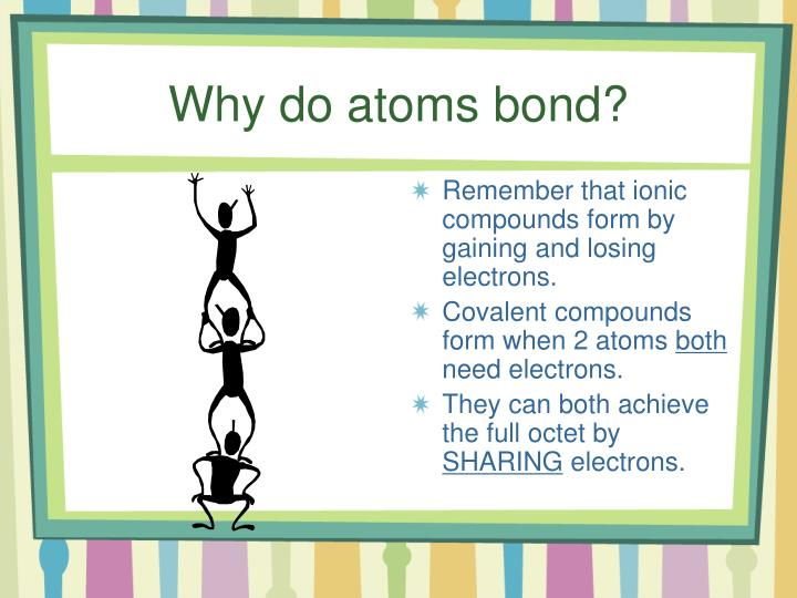 Why do atoms bond?