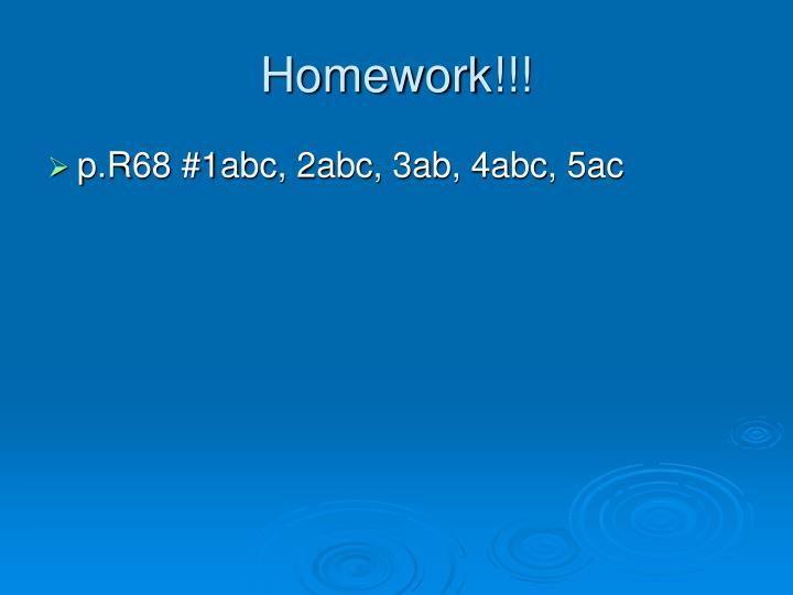 Homework!!!