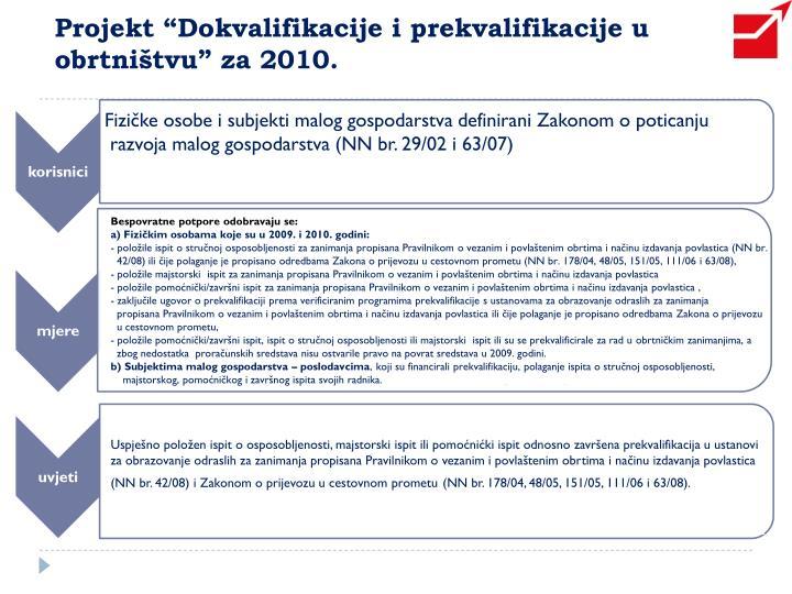 """Projekt """"Dokvalifikacije i prekvalifikacije u obrtništvu"""" za 2010."""