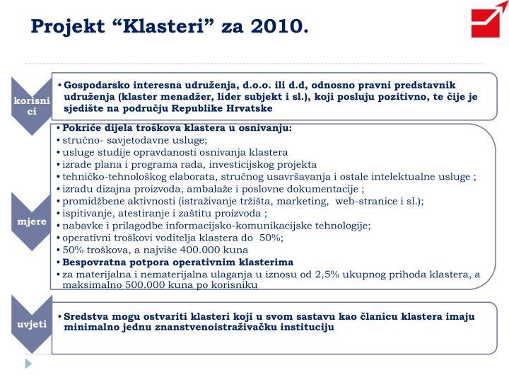 """Projekt """"Klasteri"""" za 2010."""