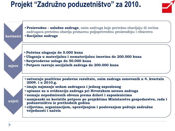 """Projekt """"Zadružno poduzetništvo"""" za 2010"""