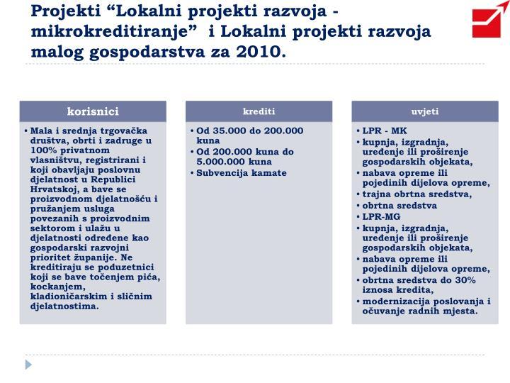 """Projekti """"Lokalni projekti razvoja - mikrokreditiranje""""  i Lokalni projekti razvoja malog gospodarstva za 2010."""
