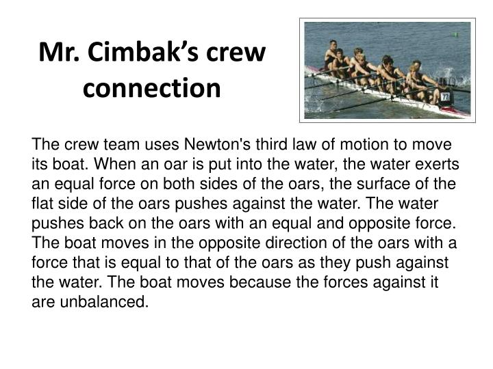 Mr. Cimbak's crew connection