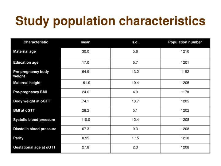 Study population characteristics
