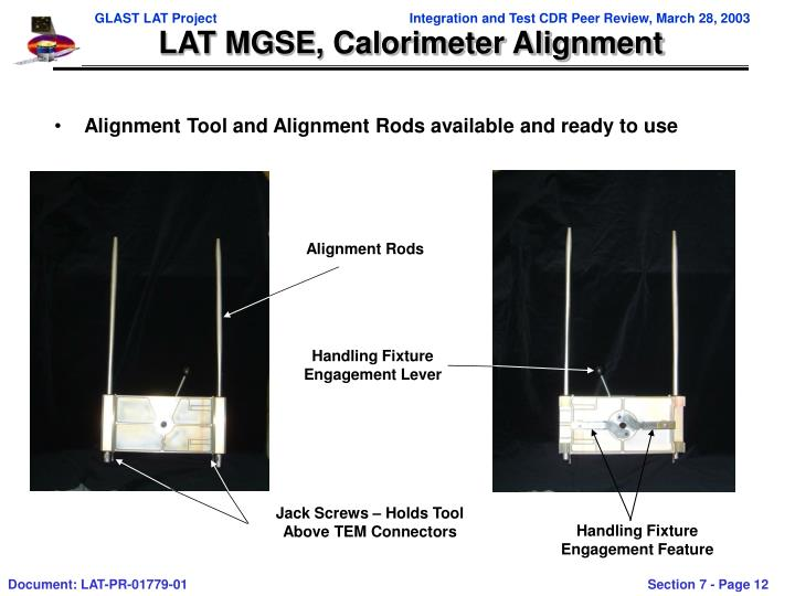 LAT MGSE, Calorimeter Alignment