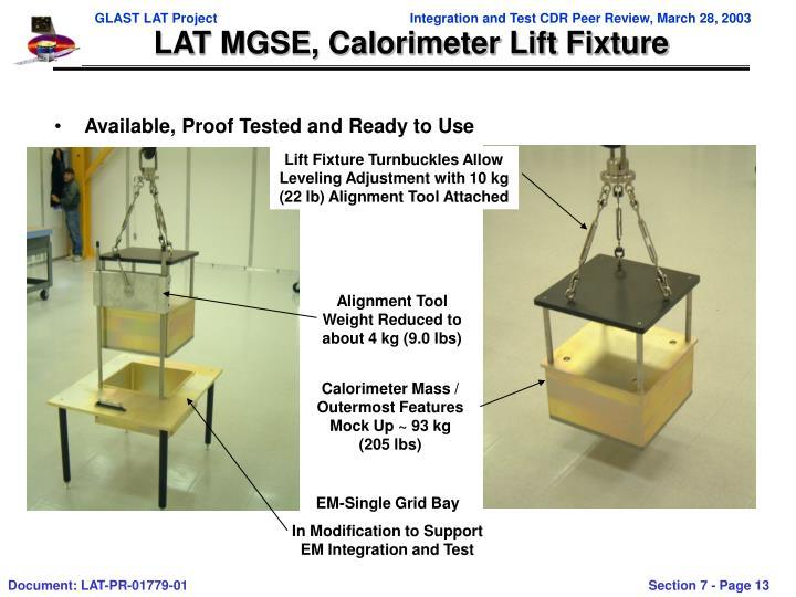 LAT MGSE, Calorimeter Lift Fixture